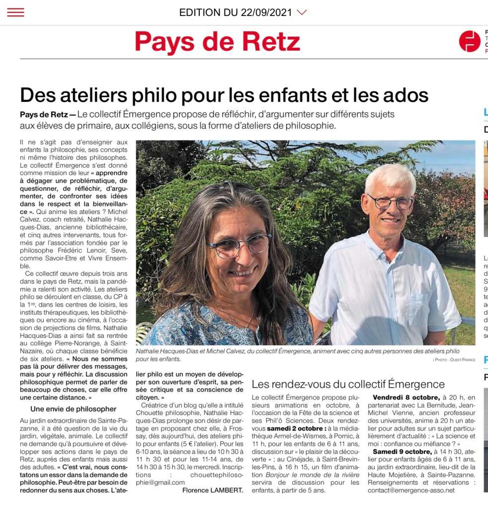 Article Ouest France de 22 septembre 2021